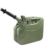 Wavian Jerry Can w/Spout & Spout Adapter, Green, 10 Liter/2.64 Gallon Capacity - 3014