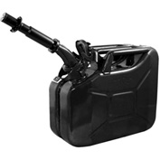 Wavian Jerry Can w/Spout & Spout Adapter, Black, 10 Liter/2.64 Gallon Capacity - 3024