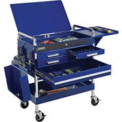 Sunex Tools 8013ABLDLX 4 Drawer Deluxe Blue Tool Cart W/ Locking Top &  Drawers