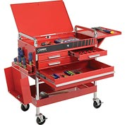 Sunex Tools 8013ADELUXE 4 Drawer Deluxe Red Tool Cart W/ Locking Top &  Drawers