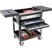 "Sunex Tools 8035 29"" 2 Drawer Slide Top Black Tool Cart W/ 5"" Casters"