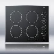 Summit Appliance CR424BL 24 Inch Wide 4-Burner Electric Cooktop Ceramic Glass Finish - Black