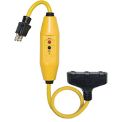 GFCI Cord Set 30396028-08, In-Line, Manual, 2 FT, Triple Tap, Yellow
