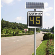 """Tapco® SP650 15"""" Radar Feedback Variable Message Sign, Solar Powered, White Sign, 126030"""