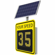 """Tapco® SP650 15"""" Radar Feedback Variable Message Sign, Solar Powered, Yellow Sign, 128085"""