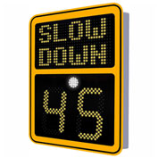 """Tapco® Safe Pace 600, 15"""" Radar Feedback Variable Message Sign, Solar Powered, Yellow, 129885"""