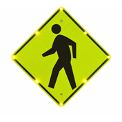 "Tapco® 2180-00210 BlinkerSign® Flashing LED Pedestrian Crossing Sign W11-2, 36""W, 110V"
