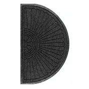 "WaterHog Eco Grand Elite 3/8"" Thick Half Oval Entrance Mat, Black Smoke 3' x 1'8"""