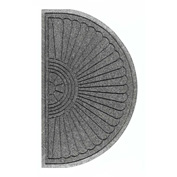 "WaterHog Eco Grand Elite 3/8"" Thick Half Oval Entrance Mat, Gray Ash 4' x 2'3"""