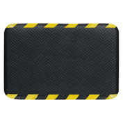 "Hog Heaven Prime Anti Fatigue Mat 3/4"" Thick, 24 x 36 Black Mat, Yellow Striped Border - 4221020023"