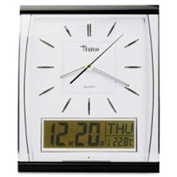 "Tatco Quartz Wall Clock with LCD Inset 14-1/2"" x 11-3/4"" Silver/Black"