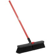 Libman Push Broom with Resin Block - 18 - Fine-Duty Bristles - Pkg Qty 4