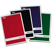 "TOPS® Steno Book W/Assorted Colored Cvr 80221, 6"" x 9"", Green Tint, 80 Sheets/Pad, 4 Pad/Pack"