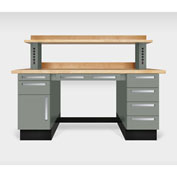 """Teclab TWS-1000-Maple 72"""" x 30"""" Work Bench With Maple Tops, Profile Gray"""