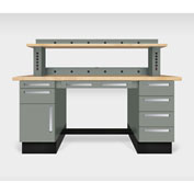 """Teclab TWS-1020-Maple 72"""" x 30"""" Work Bench With Maple Tops, Profile Gray"""