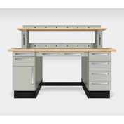 "Teclab TWS-1020-Maple 72"" x 30"" Work Bench With Maple Tops, Putty"