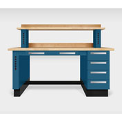 "Teclab TWS-1100-Maple 72"" x 30"" Work Bench With Maple Tops, Nitro Blue"