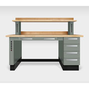 """Teclab TWS-1100-Maple 72"""" x 30"""" Work Bench With Maple Tops, Profile Gray"""