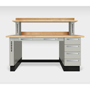 """Teclab TWS-1100-Maple 72"""" x 30"""" Work Bench With Maple Tops, Putty"""