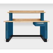 "Teclab TWS-1510-Maple 72"" x 30"" Work Bench With Maple Tops, Nitro Blue"