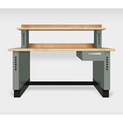 "Teclab TWS-1510-Maple 72"" x 30"" Work Bench With Maple Tops, Profile Gray"