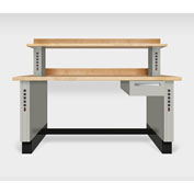 "Teclab TWS-1510-Maple 72"" x 30"" Work Bench With Maple Tops, Putty"