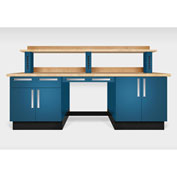 "Teclab TWS-2200-Maple 96"" x 30"" Work Bench With Maple Tops, Nitro Blue"