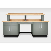 "Teclab TWS-2200-Maple 96"" x 30"" Work Bench With Maple Tops, Profile Gray"