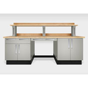 """Teclab TWS-2200-Maple 96"""" x 30"""" Work Bench With Maple Tops, Putty"""