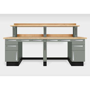 """Teclab TWS-2600-Maple 96"""" x 30"""" Work Bench With Maple Tops, Profile Gray"""
