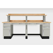 "Teclab TWS-2600-Maple 96"" x 30"" Work Bench With Maple Tops, Putty"