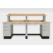 "Teclab TWS-2800-Maple 96"" x 30"" Work Bench With Maple Tops, Putty"