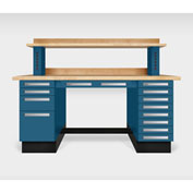 "Teclab TWS-9000-Maple 72"" x 30"" Work Bench With Maple Tops, Nitro Blue"