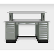 """Teclab TWS-9000-PVC 72"""" x 30"""" Work Bench With Laminate Tops, Profile Gray"""
