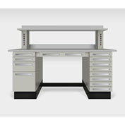"""Teclab TWS-9000-PVC 72"""" x 30"""" Work Bench With Laminate Tops, Putty"""