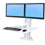 Ergotron® WorkFit-SR, Dual Monitor, Sit-Stand Desktop Workstation, White