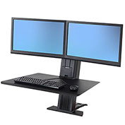Ergotron® WorkFit-SR, Dual Monitor, Sit-Stand Desktop Workstation, Black