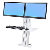 Ergotron® WorkFit-SR, Dual Monitor, Sit-Stand Desktop Short Surface Workstation, White