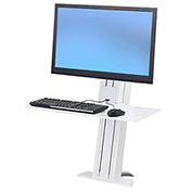 Ergotron® WorkFit-SR, 1 Monitor, Sit-Stand Desktop Short Surface Workstation, White