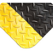 "Wearwell 495 Diamond Plate Diamond Plate Ergonomic Mat 48"" X 75' X 15/16"" Black/Yellow"