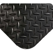 "Wearwell 497 Diamond Plate Diamond Plate Ergonomic Mat 24"" X 75' X 1"" Black"