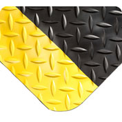 "Wearwell 497 Diamond Plate Diamond Plate Ergonomic Mat 24"" X 75' X 1"" Black/Yellow"