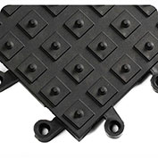 Wearwell ErgoDeck w/Integrated No-Slip Solid Cleats, 7/8in Thick, 18 x 18, Black, Case of 10