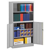 "Tennsco Bookcase Storage Cabinet BCD18-72 53 - Welded 36""W x 18""D x 72""H Light Gray"