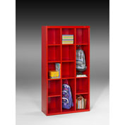 "Tennsco Cubby Cabinet CC-66 18 - Welded 34-1/2""W x 13-1/2""D x 66""H Bright Red"