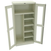 """Tennsco C-Thru Deluxe Combination Cabinet CVD7814 216 - Welded 36""""W X 18""""D X 78""""H, Champagne Putty"""