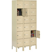 "Tennsco Heavy Duty Locker HBL6-1218-3 02 - Six Tier w/Legs 3 Wide 12""x18""x12"" Welded, Med Gray"