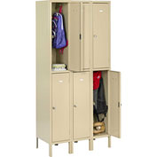 "Tennsco Heavy Duty Locker HDL-121836-3 02 - Double Tier w/Legs 3 Wide 12""x18""x36"" Welded, Med Gray"