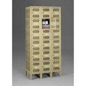 "Tennsco Ventilated Locker VBL6-1218-3 214 -  Six Tier w/Legs 3 Wide 12""x18""x12"" Welded, Sand"