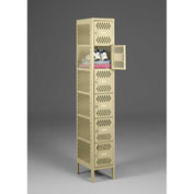 "Tennsco Ventilated Locker VBL6-1218-A 214 - Six Tier No Legs 1 Wide 12""x18""x12"" Welded, Sand"